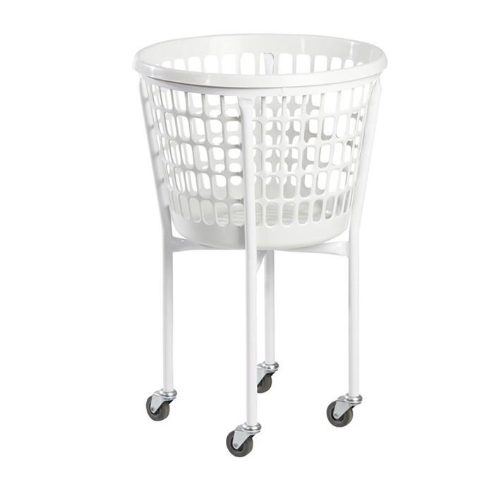 Vaskerivogn metal med 4 hjul - Med vasketøjskurv